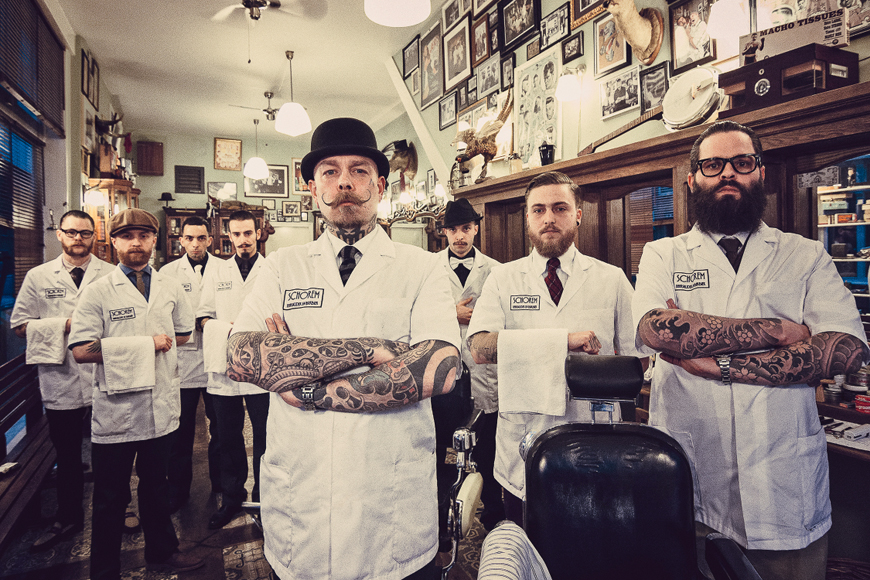 BEAUTY-SCHOOL DROPOUTS The men who do the work at Europe's most old-school barbershop.